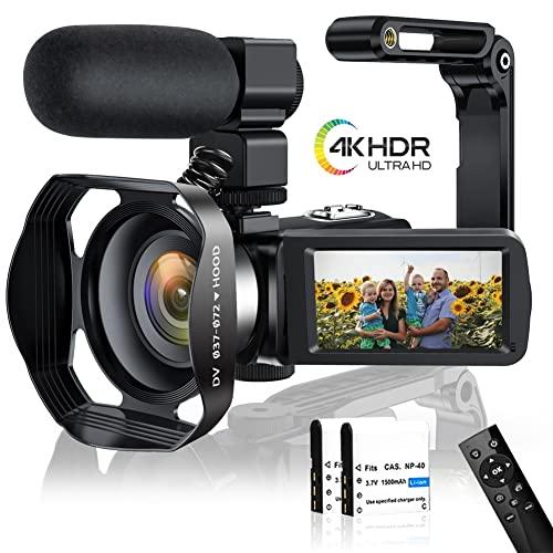Videokamera 4K Camcorder 48MP WiFi Videokamera 3,0-Zoll Touchscreen IR-Nachtsicht Video Camcorder Zeitraffer mit Mikrofon,Handstabilisator,Gegenlichtblende und Pausenfunktion für YouTube (V4S)