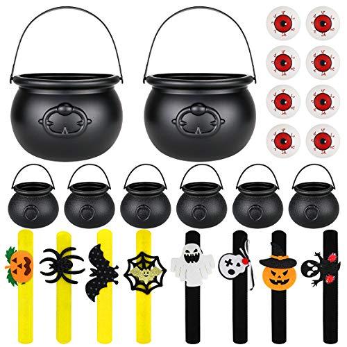 FHzytg - Caldera de bruja de plstico para Halloween, 8 unidades y 8 unidades de muequeras para Halloween, con mango, color negro