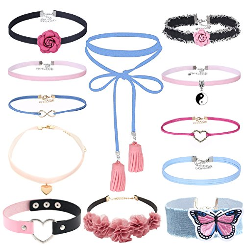Tpocean 12 PCS Pink Blue Velvet Long Elastic Tassel Pendant Chokers Set Denim Jeans Floral Embroidery PU Leather Choker Necklaces for Women Girls Teen