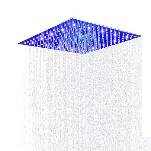 JUNSHENG - Alcachofa de ducha LED con efecto lluvia de alta presión, ultrafina, de acero inoxidable 304; Alcachofa de ducha cuadrada, chapada, de acero inoxidable, 12 pulgadas