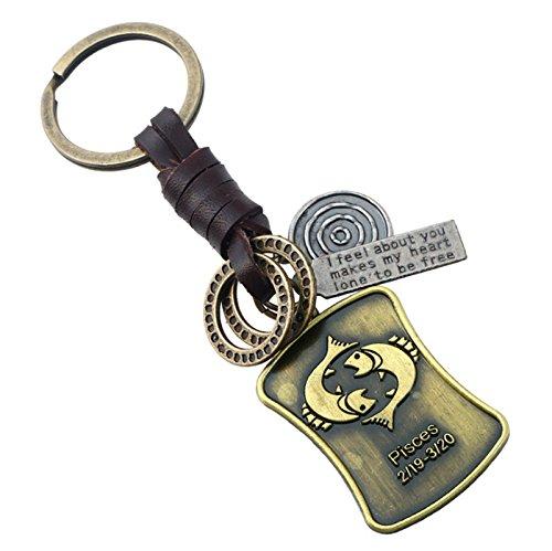 Adisaer Leder Schlüsselringe Metalllegierung Schlüsselbund Damen,Herren 12 Sternbilder Pisces Schlüsselanhänger für Frauen, Männer 1PCS Punk Schlüssel
