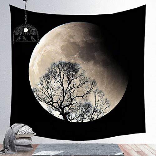 KHKJ Patrón de Luna Bohemia Piel de melocotón Súper Suave Tela Colgante Ins Tapiz Manta de Playa Decoración del hogar Fondo de Pared A14 150x130cm