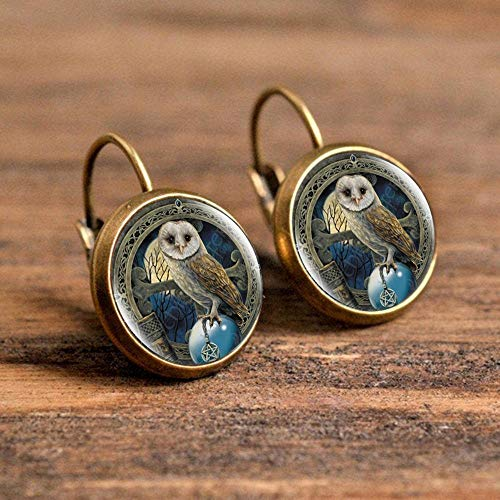 AMINIY Wolf Tiger Cat Cartoon Style Handmade Earrings Jewelry Cartoon Dome Glass Earrings Gifts For Girls (Color : 5)