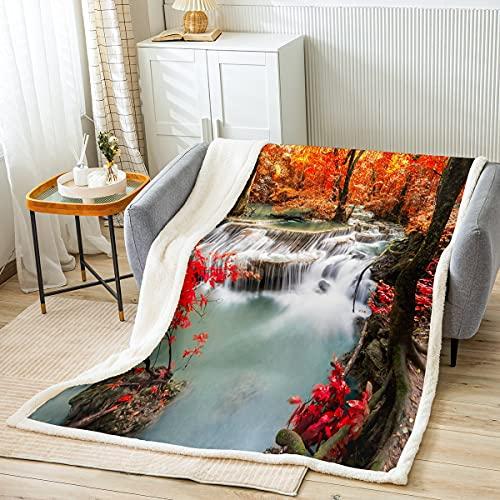 Coperta in peluche a cascata, albero in pile, coperta naturale per il divano, in microfibra, per la scena del bosco, coperta calda e fuzzy per il bambino, 30 x 140 cm