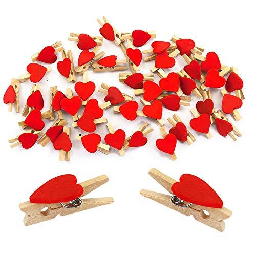 Nuluxi Mini Rot Wäscheklammern Deko Mini Holzklammern Herz Set Liebe Herz Kleine Holz Klammer für Foto Fotowand Fotoleine Foto-Postkarte Basteln Hochzeit Party Dekor Oder DIY Karte (50 Stück,Rot)