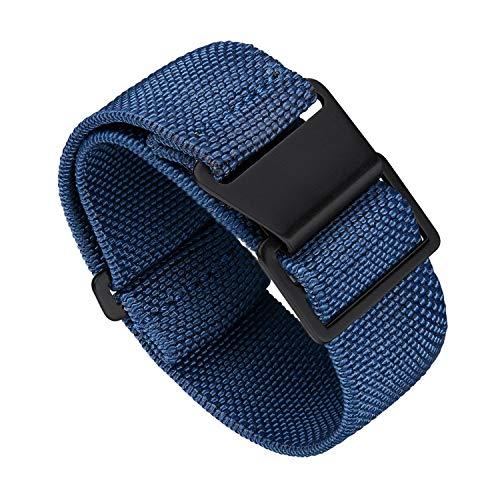 BINLUN Elástico NATO Nylon Correa Reloj Gancho y Bucle Correa para Reloj Calidad Alta con Hebilla Negra Plateada para Hombre Mujer 18/20/22mm
