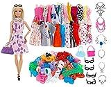 concept-ID - Dressing de Rêve Lots Accessoires - Vêtements - Habits Poupée Mannequin 30 cm - 10 Robes + 10 Chaussures + 6 Colliers + 4 Paires de Lunettes - 2 Sacs - Style Aléatoire