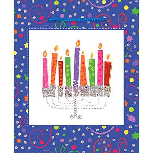 amscan Joyous Hanukkah Festival Playful Menorah Medium Glitter Bag , Blue, Paper, 9 1/2' X 8' X 4 1/2', Pack of 1 Party Supplies