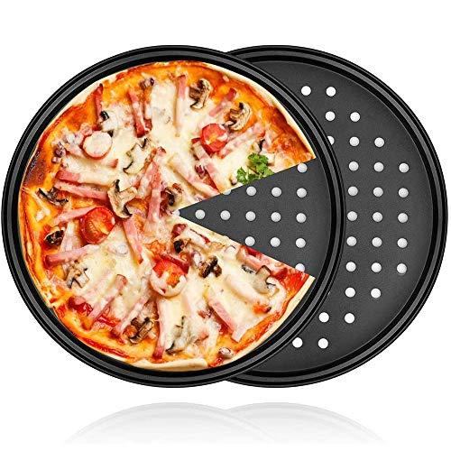 NOBGP Sartén para Pizza de Acero al Carbono de 12 Pulgadas, Bandeja para Pizzas Antiadherente para Hornear con Agujeros, sartenes para Pizza, para Pizzas caseras/congeladas/recalentadas