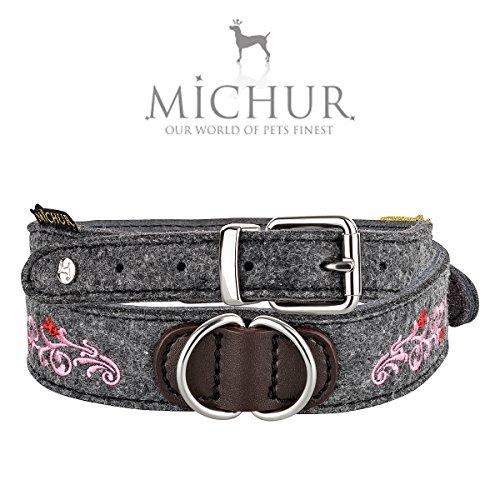 MICHUR Zenzi ROSA, Hundehalsband Filz, Art Leder, Hund Halsband Grau, Rosa mit Stickerei, in verschiedenen Größen erhältlich