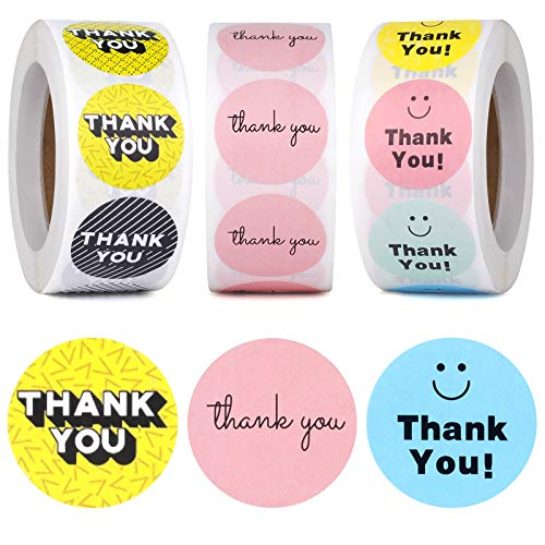 BYKORMI 1'' Thank You Stickers Rolls 1500pcs Pink Smile Face 3D Fonts Thank You Labels Stickers for Small Business, Bubble Mailers, Box, Packaging Bag, Envelope, Gift