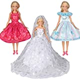 Tanosy 3 Sets Doll Dresses White Wedding Dress with Crown Veil and 2 Sets Party Dresses for 30cm/11.5 inch Girl Doll Xmas Gift (Wedding Dress+2 Sets Party Dresses)