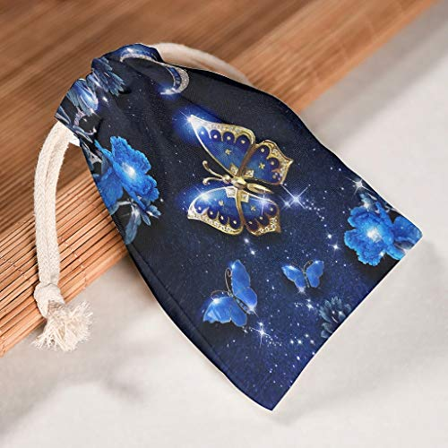 NC83 12-pack voor 12 drawstrings opslag trekkoord tas ademend Toy tas Fit Valentijnsdag Party Cadeau Wrap Bag - Magical Darkblue Design Gedrukt 20 * 25cm wit
