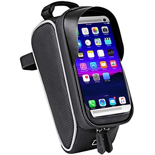 GHJU Bike Saddle Bag Bike Seat Bag- Front Storage Bike Bag Bicycle Bag with Phone Mount Waterproof Touch Screen Bicycle Bag (Color : Black, Size : One Size),Size:One Size,Colour:Black qingqiao
