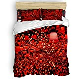 Trendier King Size Duvet Cover Set,Chinese Style Red Lantern Printed Bedding Sets Ultra Soft Double Hotel Bedding Collection with Zipper Closure,Include 1 Flat Sheet 1 Duvet Cover and 2 Pillow Cases