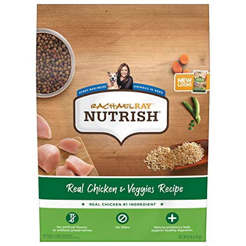 Rachael Ray Nutrish Premium Natural Dry Dog Food, Real Chicken & Veggies Recipe, 6 Pounds (Packaging May Vary)