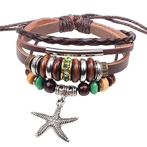 Secreto del invierno Multi Strand aleación estrella de mar colgante plata tono tubo cuentas de madera pulsera de piel marrón