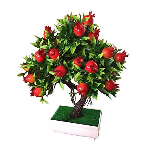 LANGPIAOEZU Realista 1PC en Maceta Artificial de árboles frutales de la Planta Bonsai árbol pequeño Bote Partido Plantas Bonsai Etapa de Garden Hotel decoración de la Boda decoración Natural