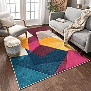 "Well Woven Strata Squares Blue Purple Fuchsia Yellow Orange Modern Geometric Hand Carved 8×10 (7'10"" x 9'10"") Area Rug Easy to Clean Stain & Fade Resistant Thick Soft Plush"