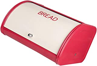 F Fityle Red Bread Box for Kitchen Counter Bread Bin Storage Container for Loaves, Pastries, and More, Roll up Lid Design