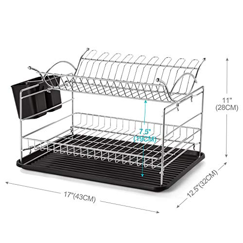 Glotoch Square 2 Tier Dish Drying Rack Kitchen Organizer Storage, 2021 Upgraded Base with Chrome Rustproof Coating, Cup Holding Rack and Utensil Holder and Drip Tray 17 x 12.5 x 11 Inches