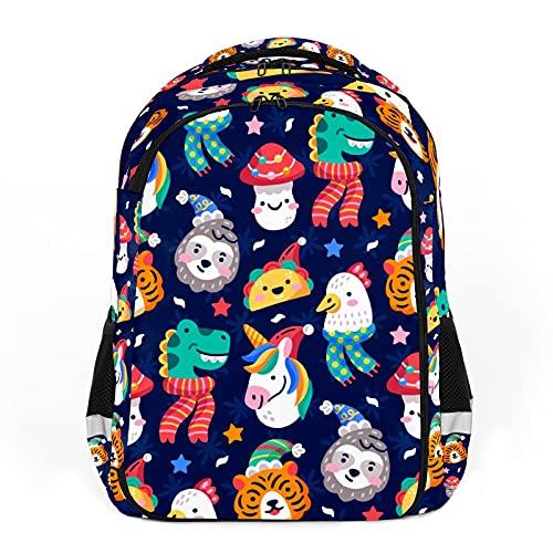 Animales coloridos de dibujos animados, elemento de Navidad, perfecto para mochilas escolares y de viaje, mochilas de estudiantes perfectas para todas las edades