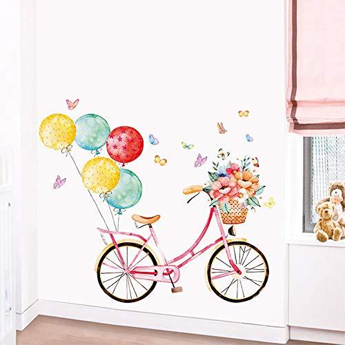 HGSWYUD Globo de Bicicleta Pegatina de Pared,Autoadhesivo Desmontable Vinilos de Pared,DIY Calcomanías de Pared Regalo de Niñas,Vistoso Pegatina de Pared para dormitorio Sala de Estar Baño
