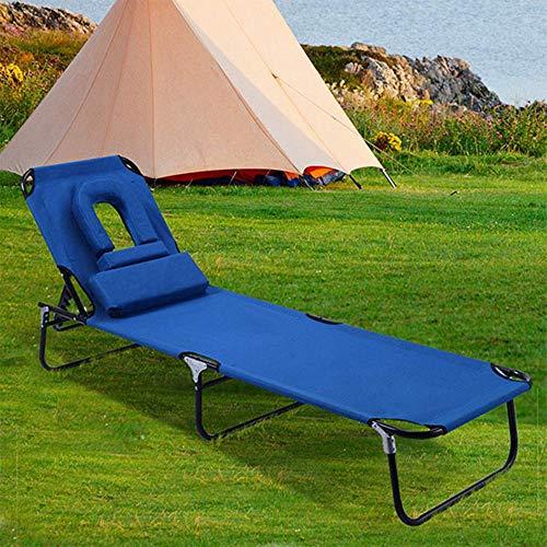 AAGYJ Sillas y Cama de Camping portátiles, sillas de Patio Plegables reclinables, sillones de Patio, sillones de Viaje al Aire Libre, Chaise Longue con Orificio Frontal y Almohada extraíble