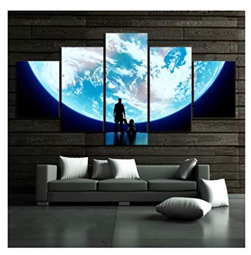 JCYMC Cuadro De Lienzo Moon Pictures Overwatch Video Game Poster Wall Art Poster para Decoración De Sala De Estar My106Zx 150X100Cm 5 Piezas Sin Marco
