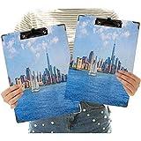 Portapapeles de oficina de Manhattan Skyline New York Sunshine USA Clear Sky Tower Skyscraper Fotografía decorativa Portapapeles para escuela, oficina, enfermera, arte, negocios