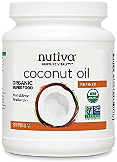 Nutiva Organic, Neutral Tasting, Steam Refined Coconut Oil from non-GMO, Sustainably Farmed Coconuts, 54 Fl Oz (Pack of 1)