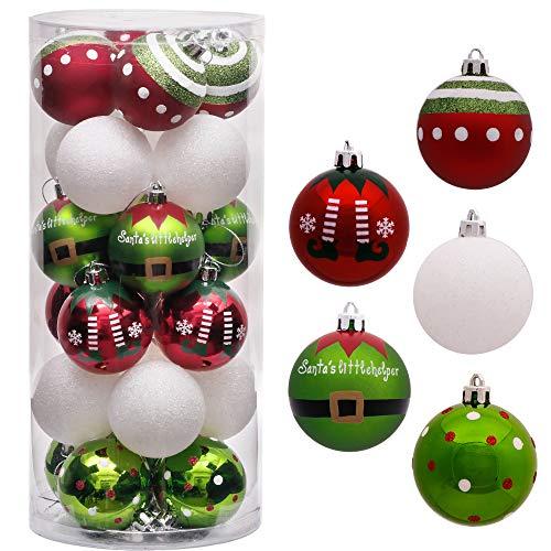 Victor's Workshop Addobbi Natalizi 24 Pezzi 6cm Palle di Natale, Delightful Elf Red Green And White Infrangibile Palla di Natale Ornamenti Decorazione per la Decorazione Dell'Albero di Natale