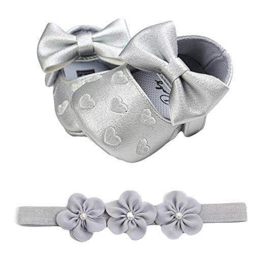 Fossen Zapatos de Bebe Fossen Recién Nacido Niñas Piel Artificial Primeros Pasos Bordado Corazón Patrones Y Diadema de Flores (0-6 Meses, Gris)