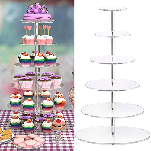 Acrylic Cupcake Stand Hopekings 5/6/7 Tiers Round Cake Stand Display Clear Cupcake Stand Tower Dessert Stand for Wedding Party 6 Tiers