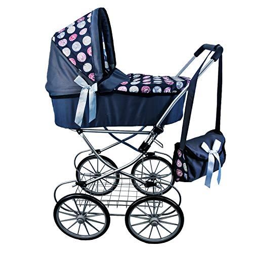 The Magic Toy Shop Dolls Pushchair Stroller Cambridge Pram Vintage Doll Buggy with Storage Basket & Carry Bag (Blue)