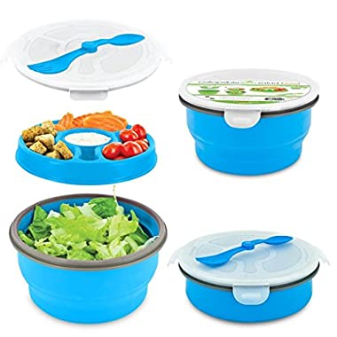Smart Planet Eco Collapsible Salad Bowl, 64 oz, Blue