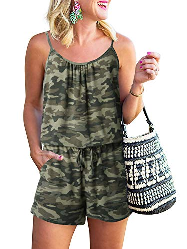 Caracilia Womens Summer Casual Loose Sleeveless Pleated Tank Rompers Scoop Neck Cami Romper Jumpsuit with Pockets Camouflage Yellow C32A0-micaihuang-XL