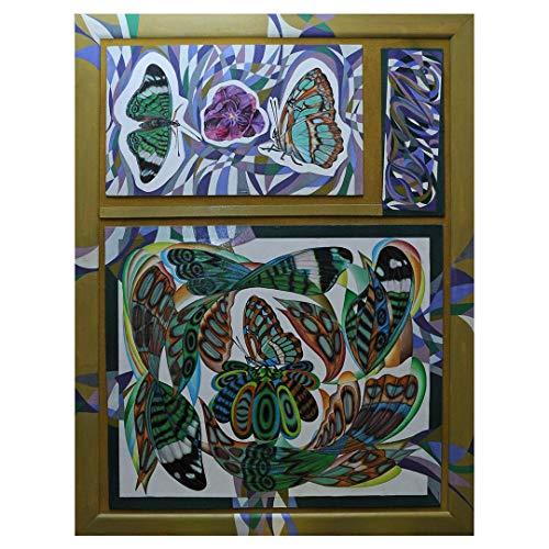 Artastate - Mariposas Pintadas - Pintura al temple pintada a mano, Pintura pintada a mano sobre tabla de madera (aglomerado), Decoración de paredes