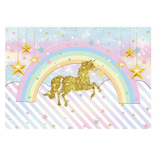 Funnytree 7x5ft Rainbow Magical Unicorn Backdrop Girl Birthday Party Photo Background Golden Glitter Star Stripes Pink Watercolor Sky Baby Shower Cake Table Decoration Photobooth Studio Props