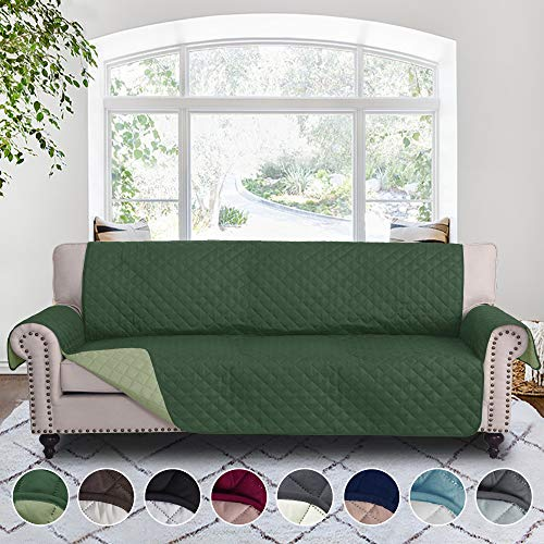 RHF Reversible Cover for Extra-Wide Couch, Sofa Cover, Extra-Wide Couch Cover for Dogs, Extra-Wide Couch Covers for Pets, Couch Slipcover, Machine Washable (Sofa-Extra Wide: HunterGreen/Sage)