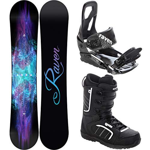 RAVEN Snowboard Set: Snowboard Aura + Bindung s200 Black + Boots Target (140cm + s200 S/M + Target 37)