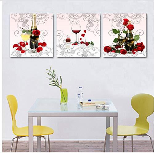 Decoratie voordelige moderne bloem en wijn stilleven canvas schilderij keuken muurkunst schilderijen 60x60x3 stuks cm geen lijst