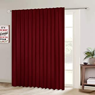 NICETOWN Blackout Blinds for Sliding Glass Door, Christmas Curtains for Patio, Wide Width Drapes for Living Room (Burgundy Red, 100 inches Wide x84 Long, 1 Piece)