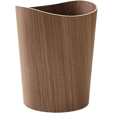 Liex-poubelle en Bois, Corbeille de Rangement pour ménage Simple/Corbeille à Papier de Bureau, Design en Bois Massif d'époque, 23,5 × 30 cm (Couleur du Journal, Couleur Noyer)