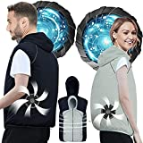 Air Conditioned Clothes Cooling Vest 3-Speed Adjustable Fan Ac Jacket Cooling Sun Protection Cool vest for Hot Weather (Grey, Medium)