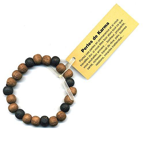 Lucky Karma madera de pulsera madera, color marrón y negro