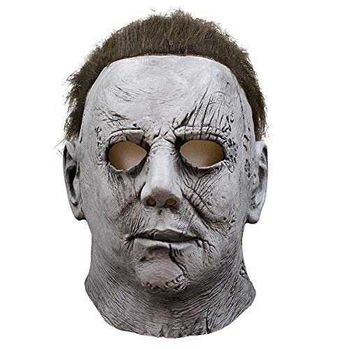 DMAR Michael Myers Mask, Full Head Latex Halloween Cosplay Prop, Horror-Movie Killer Mask con Cabello, Carnaval y Halloween Grey
