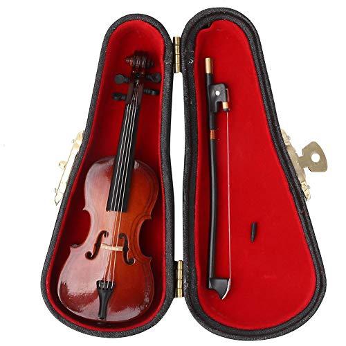 HEEPDD Cellomodell, 10 cm mini-cellomodel van hout, miniatuur-muziekmodel met standaard boog en koffer