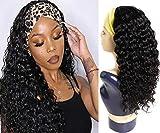 Headband Wig Human Hair None Lace Front Wigs Glueless Human Hair Wigs 24 Inch Virgin Brazilian Deep Wave Machine Made Wigs Human Hair Wigs for Black Women