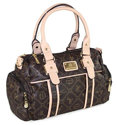 # 433 Giulia Pieralli Damen Glamour Handtasche Damentasche Tasche Henkeltasche Kunstleder Schwarz Braun Beige Weiss (Beige)